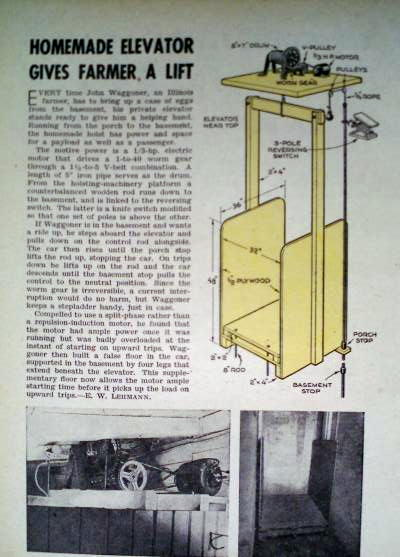 How to build a personal elevator homemade lift hoist 1946 Elevator home plans