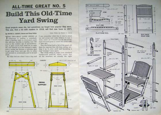 Build wood yard swing 2 bench glider w canopy diy plans for Playground building plans