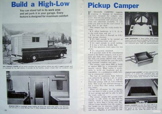 Truck Camper Plans Build Yourself: How-to Build PICK-UP TRUCK HI-LO HIGH-LOW CAMPER CAB