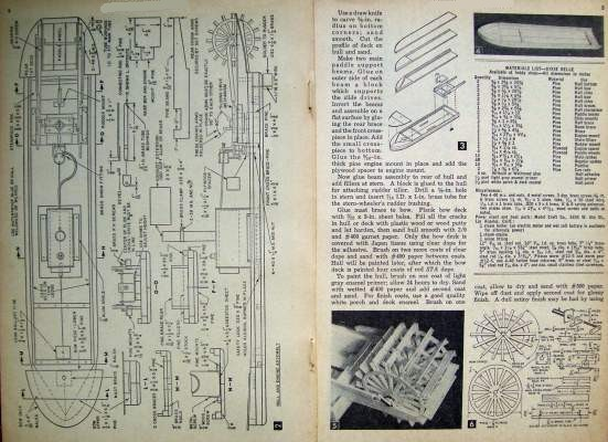 1954 Plans Mississippi River Paddle Wheel Boat Steamboat Model ...